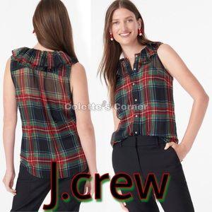 J.Crew Sleeveless Ruffle-Collar Top Black Tartan